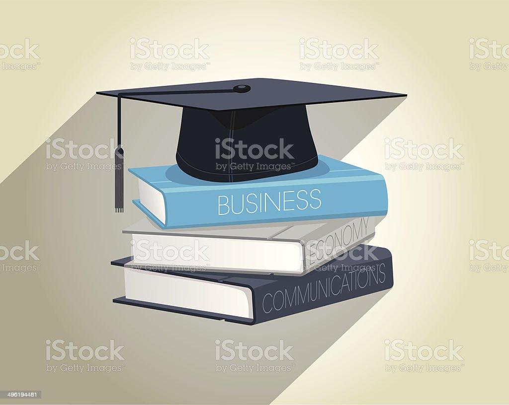 books and graduation cap vector vector art illustration