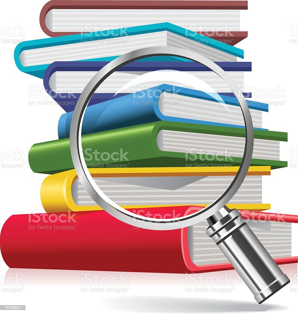 Books and magnifying glass royalty-free stock vector art