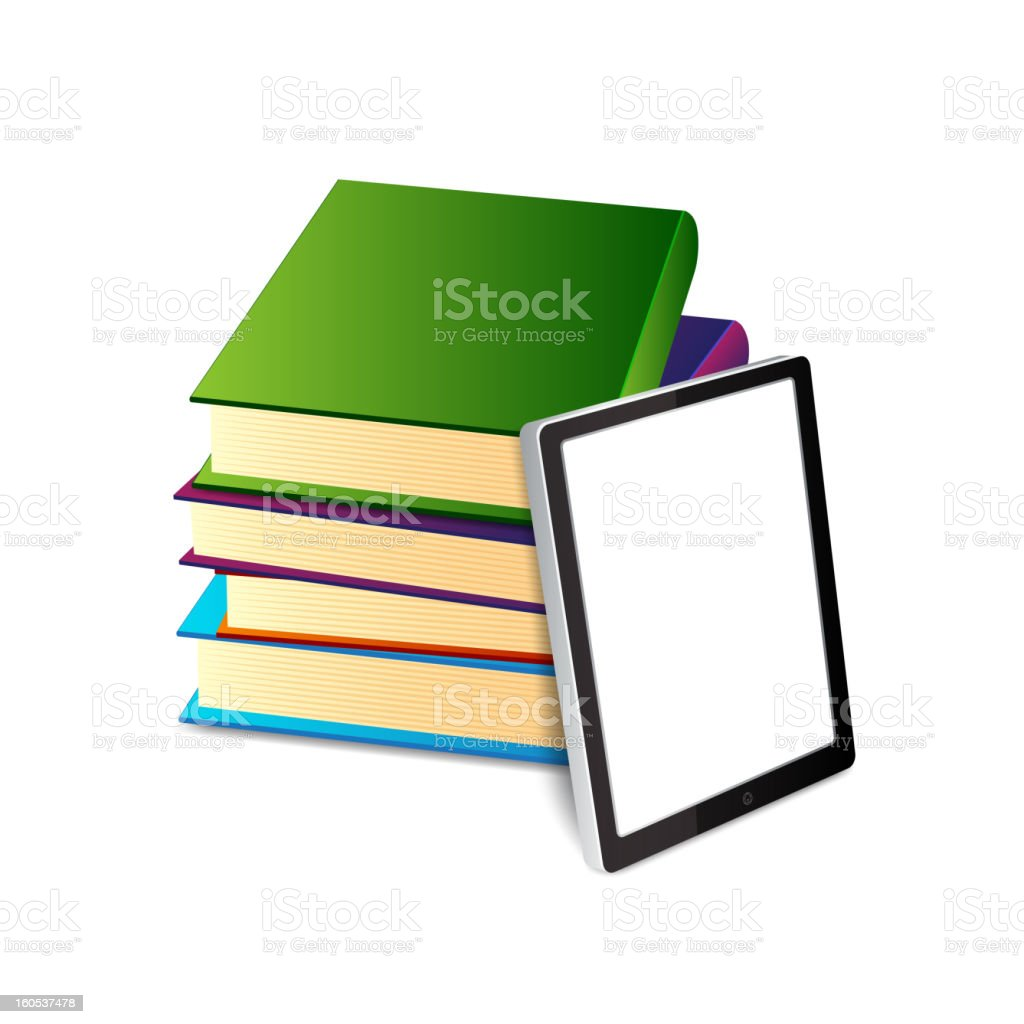 Books ans tablet pc royalty-free stock vector art