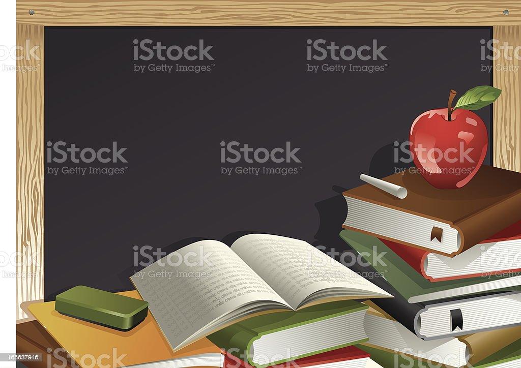 Books, Apple, Chalk and Blackboard Vector vector art illustration