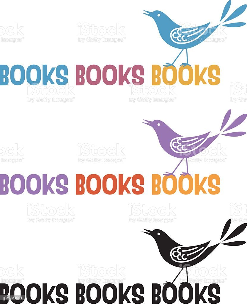 Books Bird Icon vector art illustration