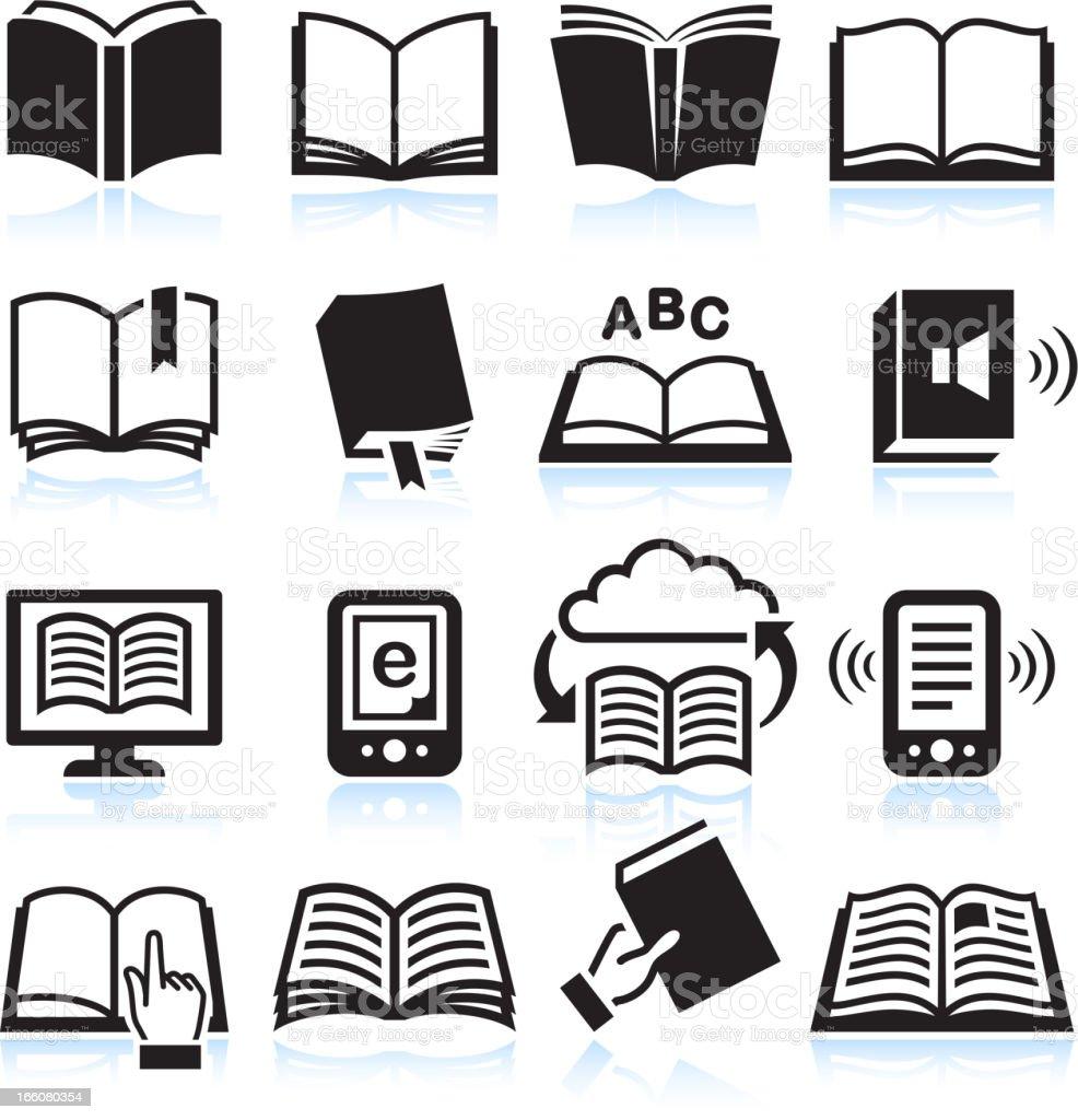 Books black & white icon set vector art illustration