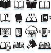 Books black & white icon set