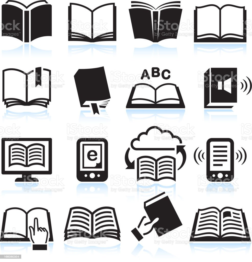 Books black & white royalty free vector icon set vector art illustration