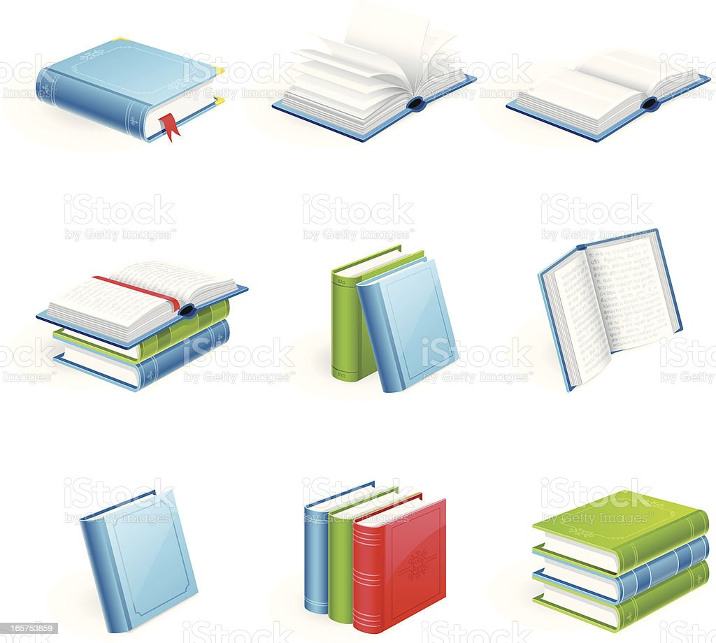 Books: closed, opened, arranged in a row or stack royalty-free stock vector art