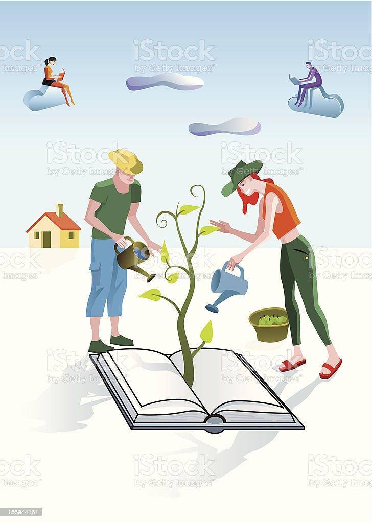 Books Gardeners vector art illustration