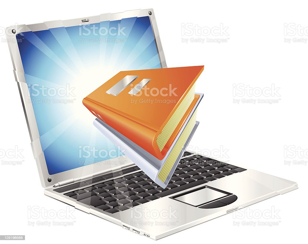 Books icon laptop concept royalty-free stock vector art