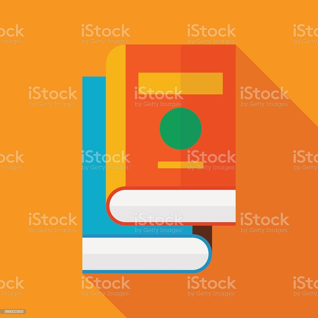 books icon with long shadow. flat style vector illustration vector art illustration