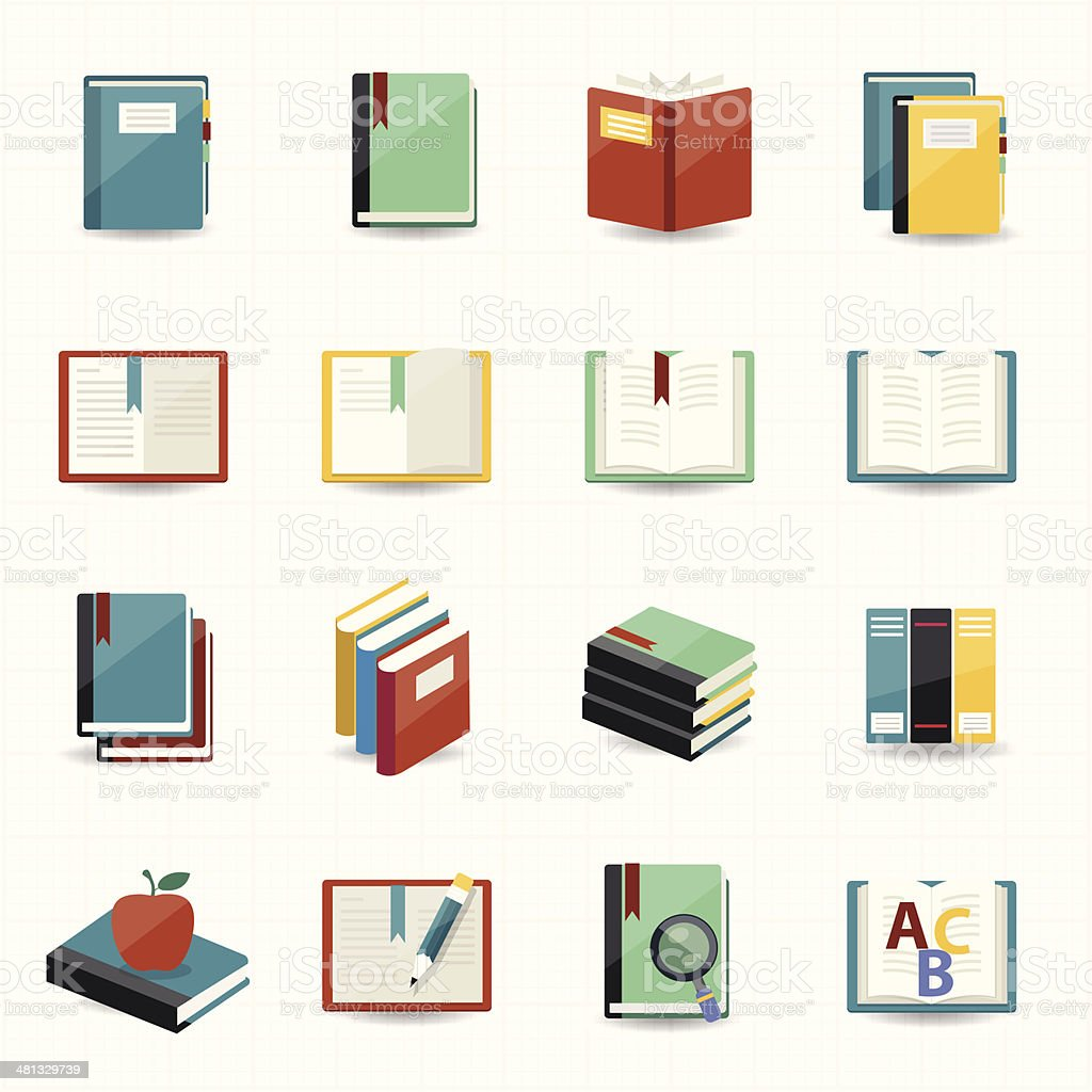 Books icons and library icons with white background vector art illustration