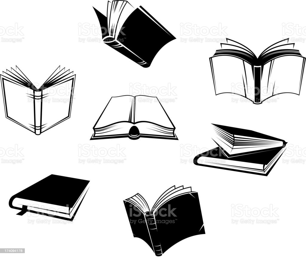 Books icons and symbols royalty-free stock vector art