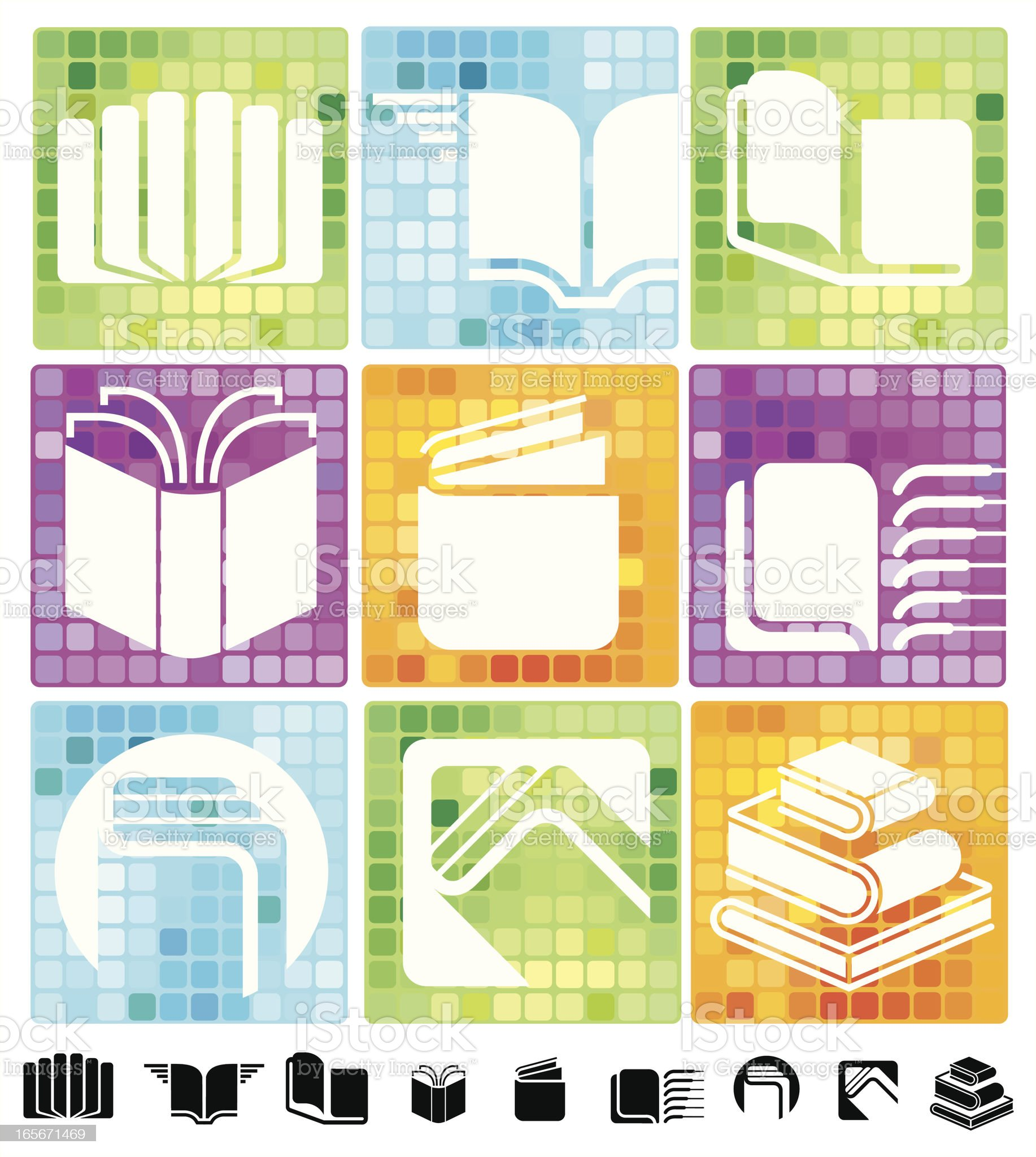 Books icons with mosaic background royalty-free stock vector art