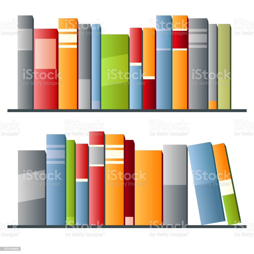 Books in a row on white background vector art illustration