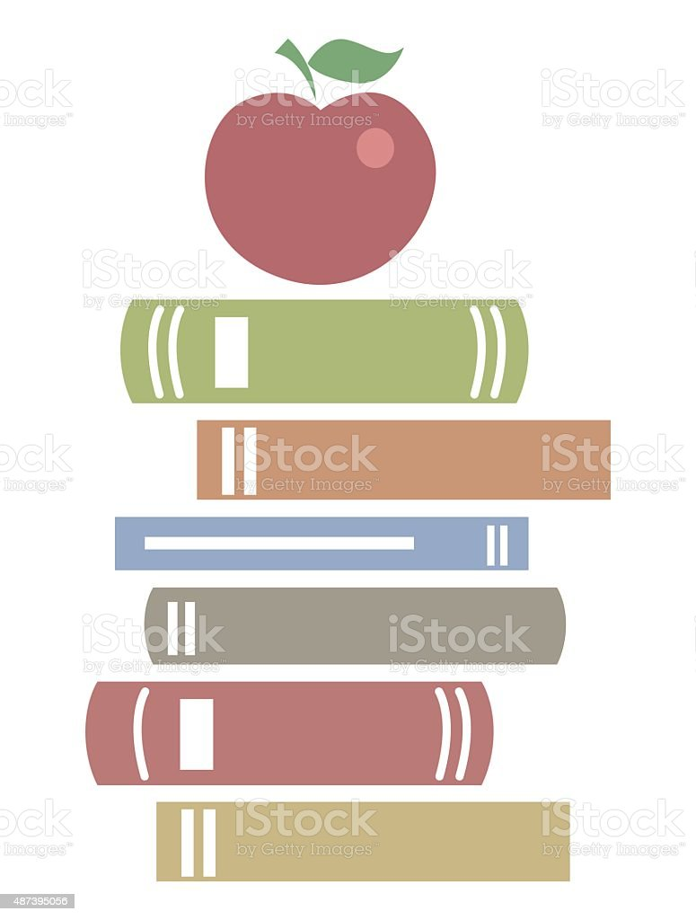 Books in flat design icon vector art illustration