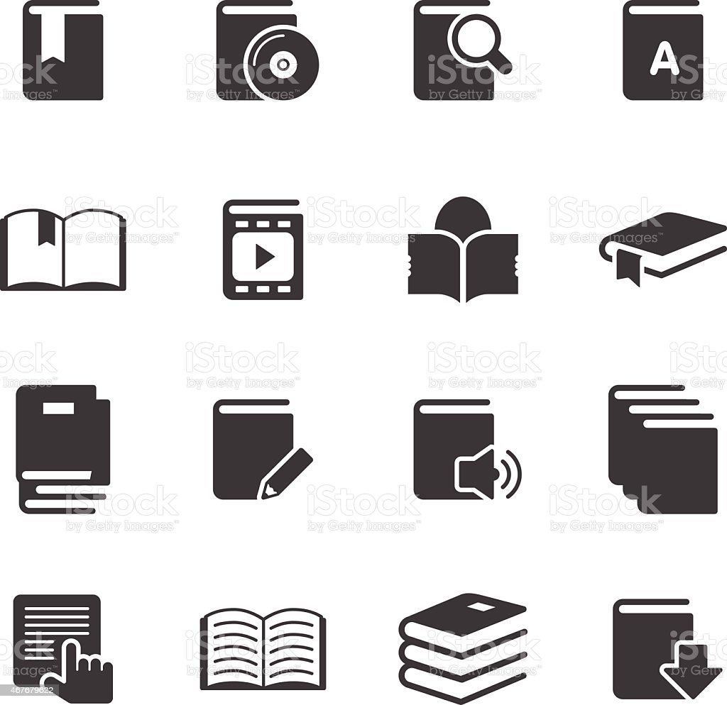 Books Information - Simple Icons vector art illustration