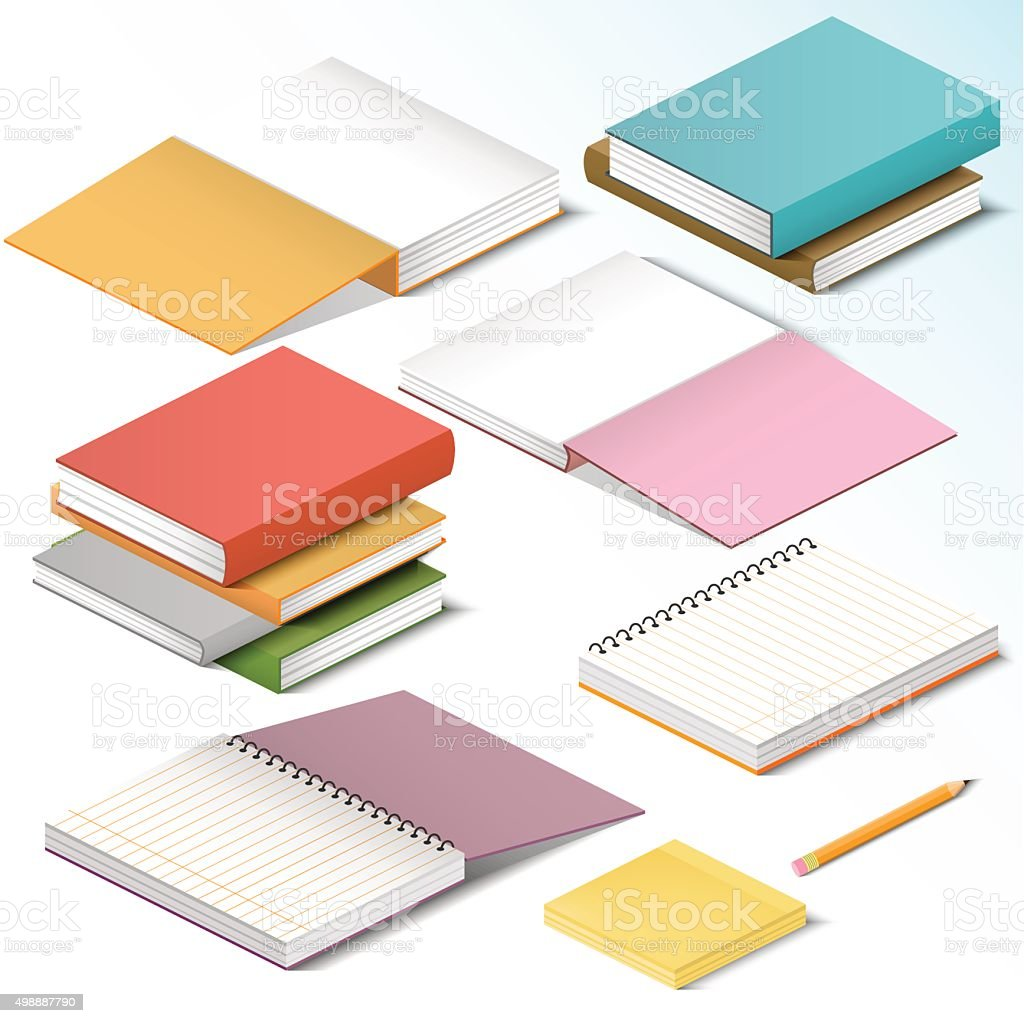 Books, knowledge, office illustration in isometric style vector art illustration