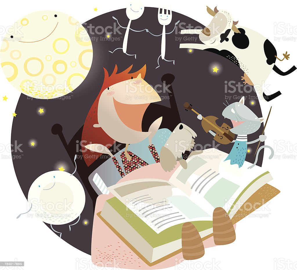 OUT OF books - nursery rhymes! vector art illustration