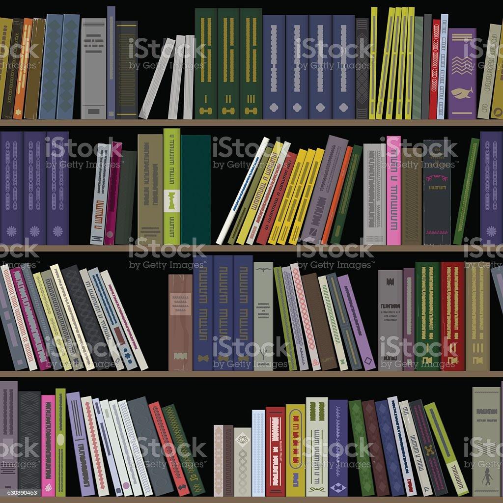 Books on shelves seamless vector art illustration