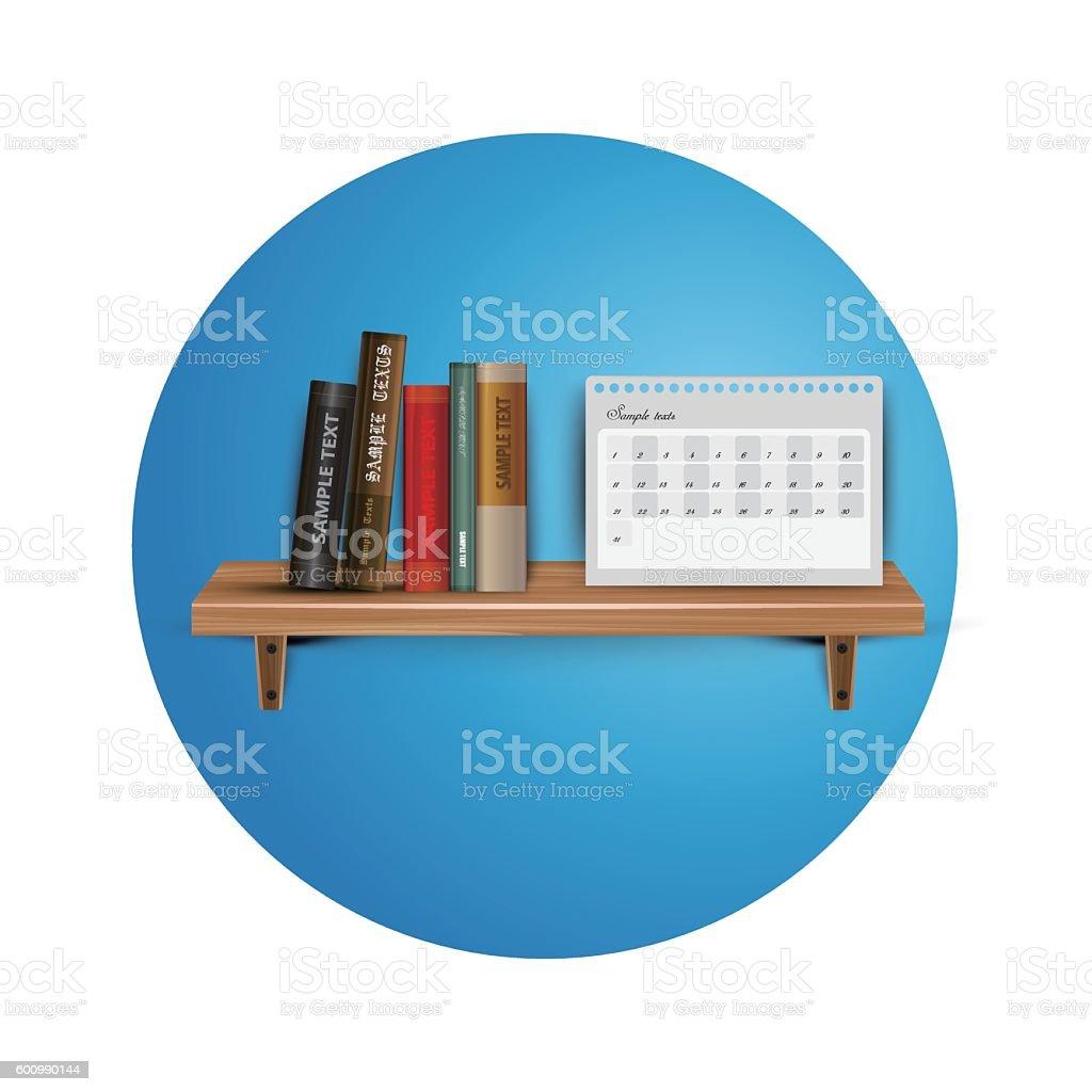 Books on the wooden  bookshelf vector art illustration