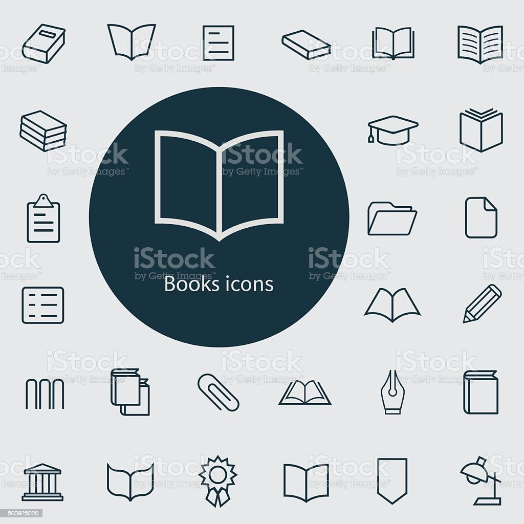 books outline, thin, flat, digital icon set vector art illustration