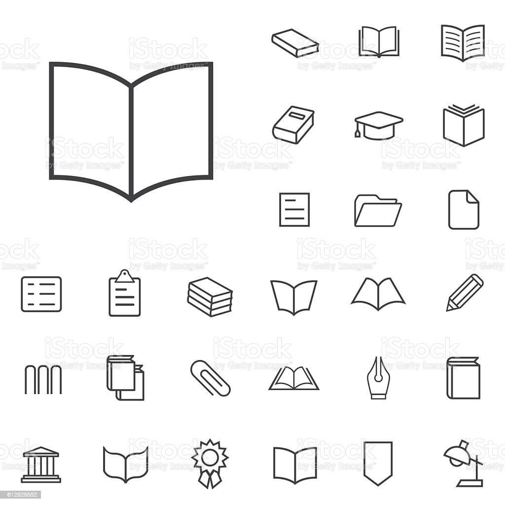 books outline, thin, flat, digital icon set vector art illustration