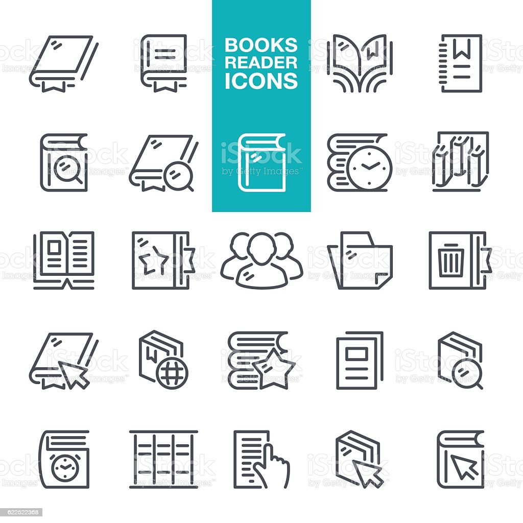 Books Reader Line Icons vector art illustration