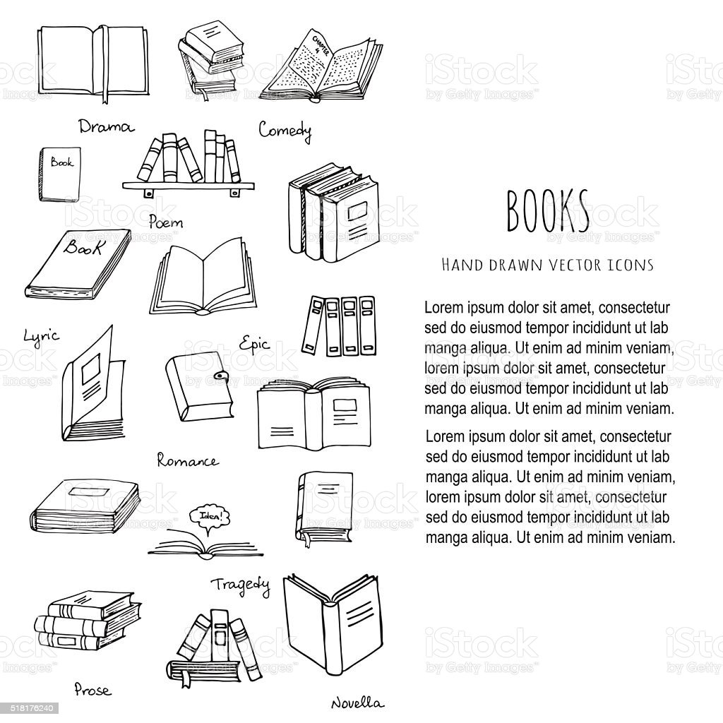 Books Reading set vector art illustration