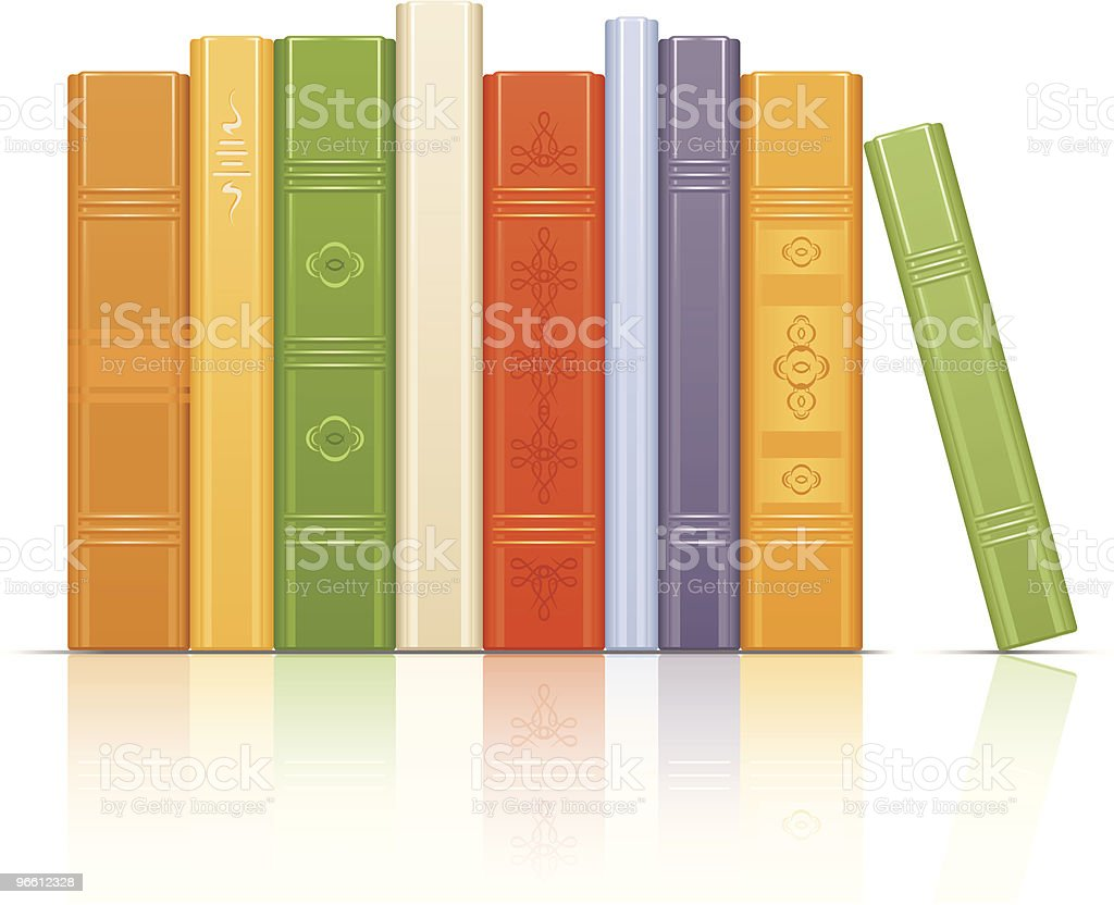 Books row vector art illustration