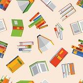 Books set vector seamless pattern