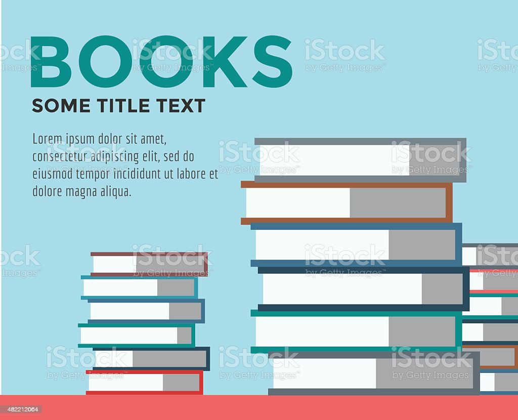 Books stack. Vector isolated. School objects, or university and college vector art illustration