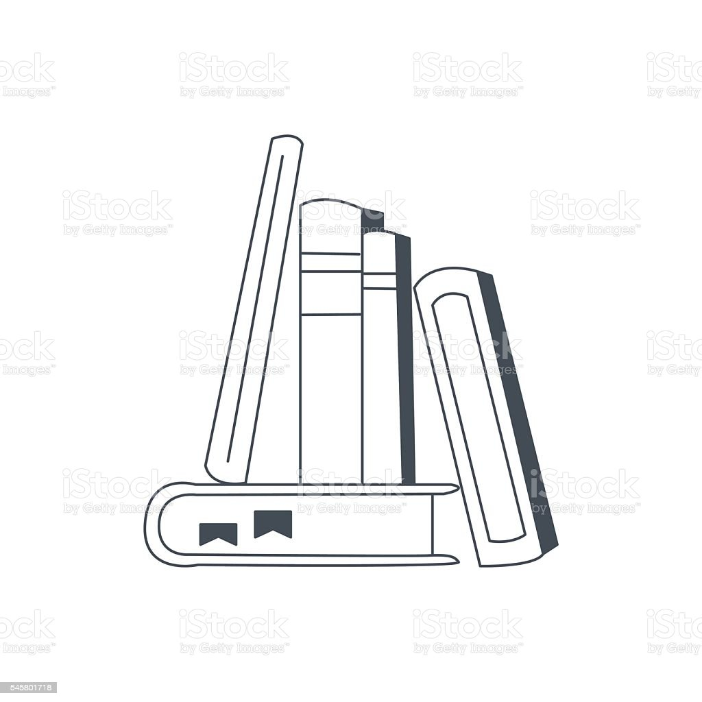 Books Standing And Leaning To Each Other vector art illustration
