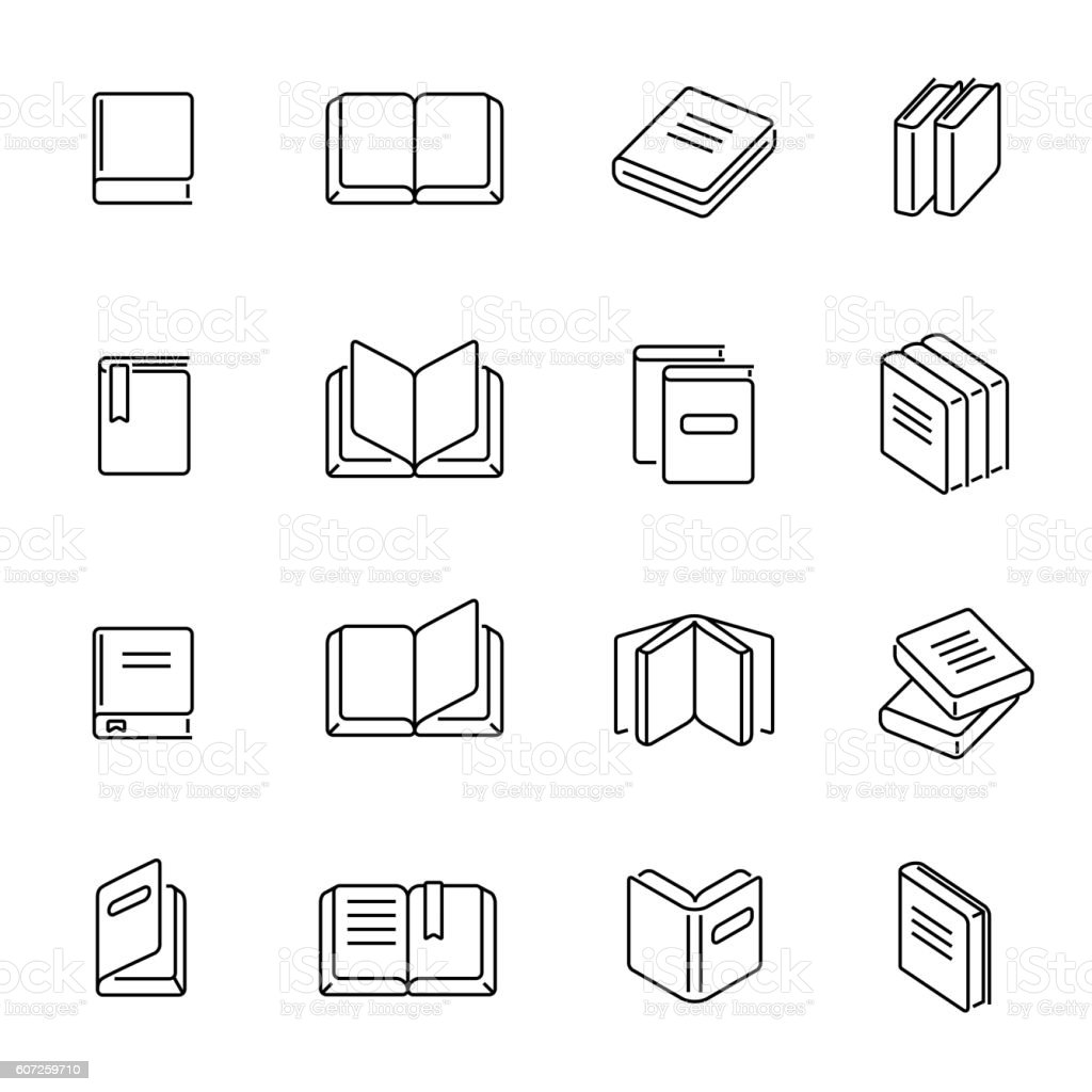 Books thin line icons vector vector art illustration