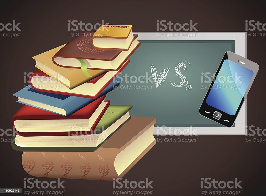 books vs. smart phone royalty-free stock vector art