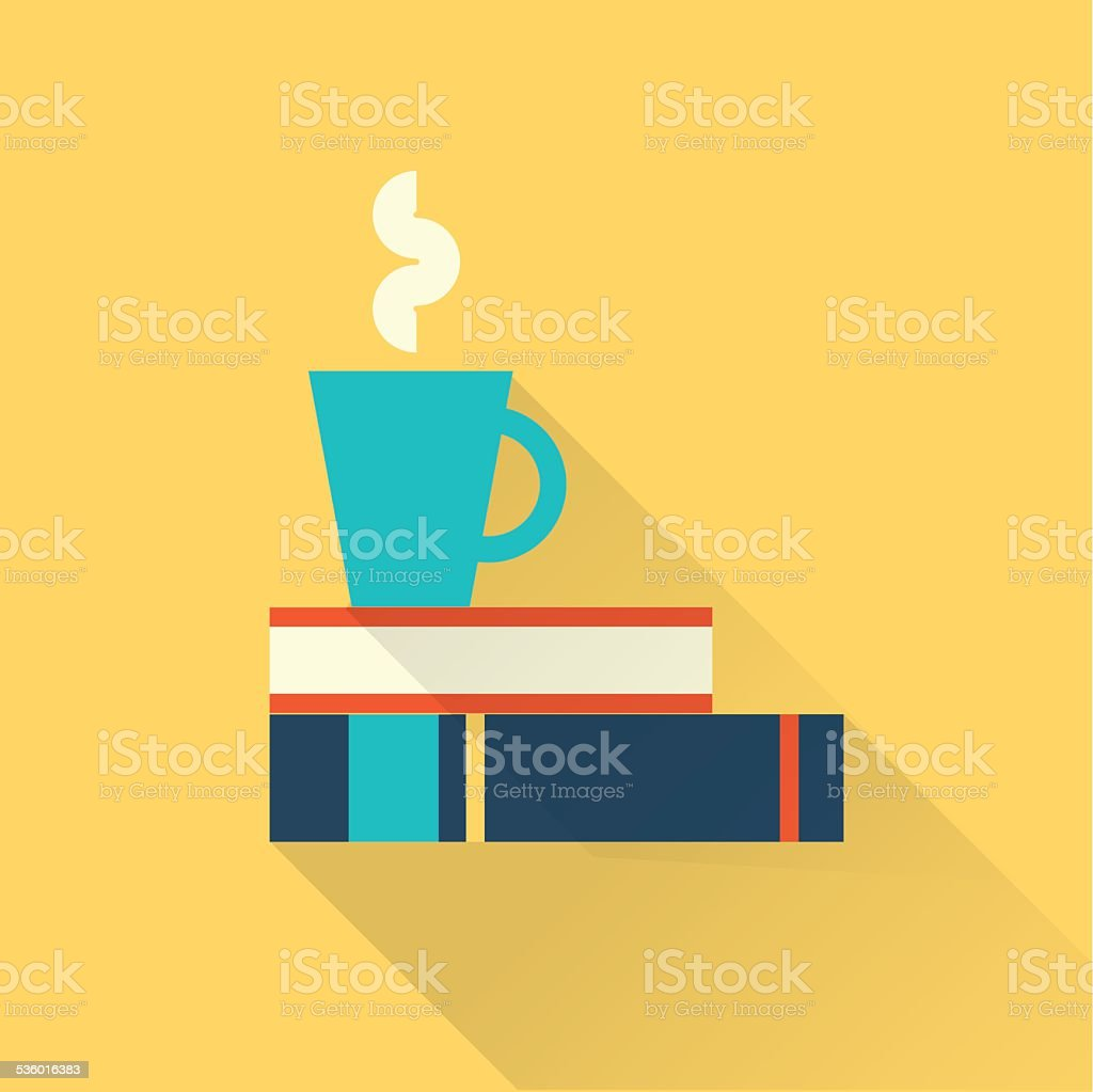 books with a cup vector art illustration