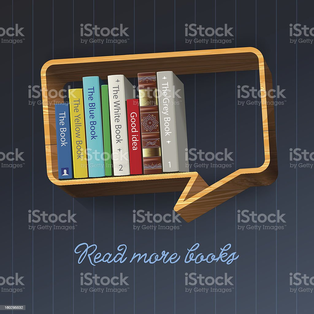 Bookshelf in the form of speech bubble royalty-free stock photo
