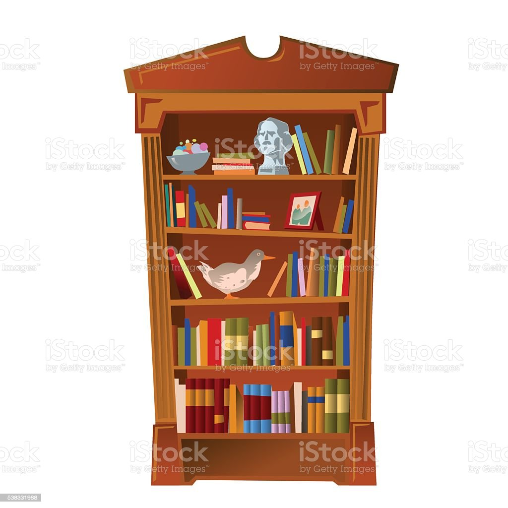 Bookshelf with bust, photo frame and toy vector art illustration