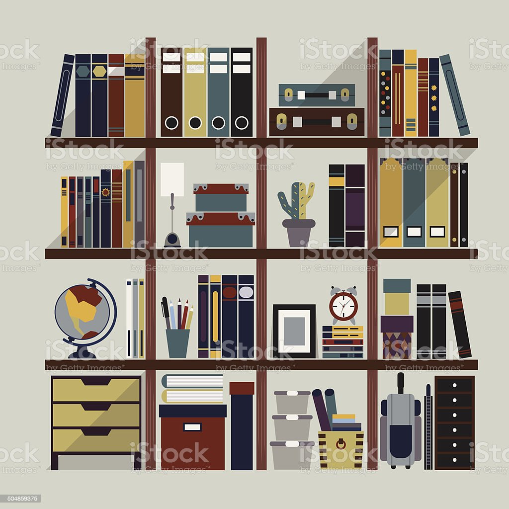 Bookshelf with various objects - Flat design vector art illustration