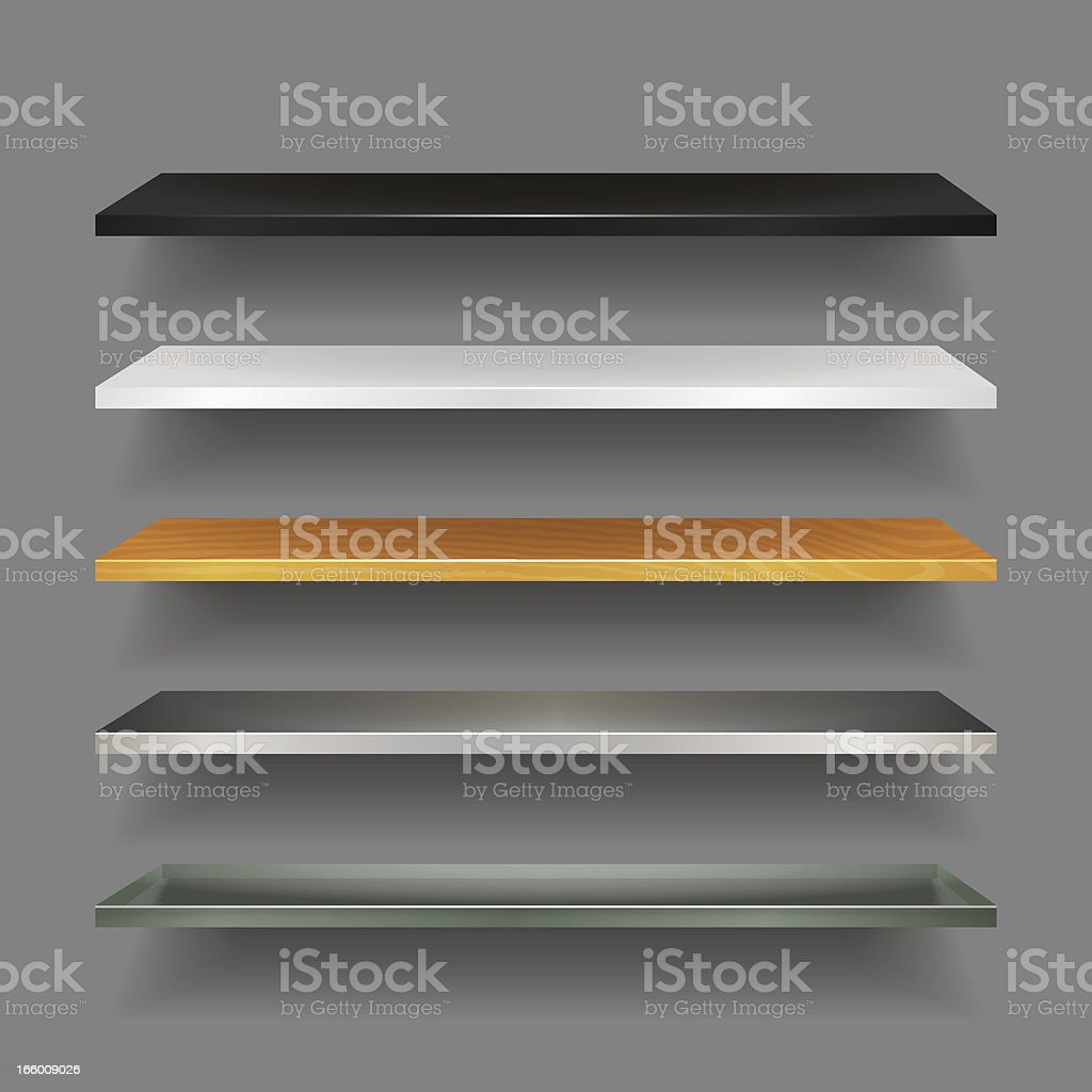 Bookshelves Collection royalty-free stock vector art