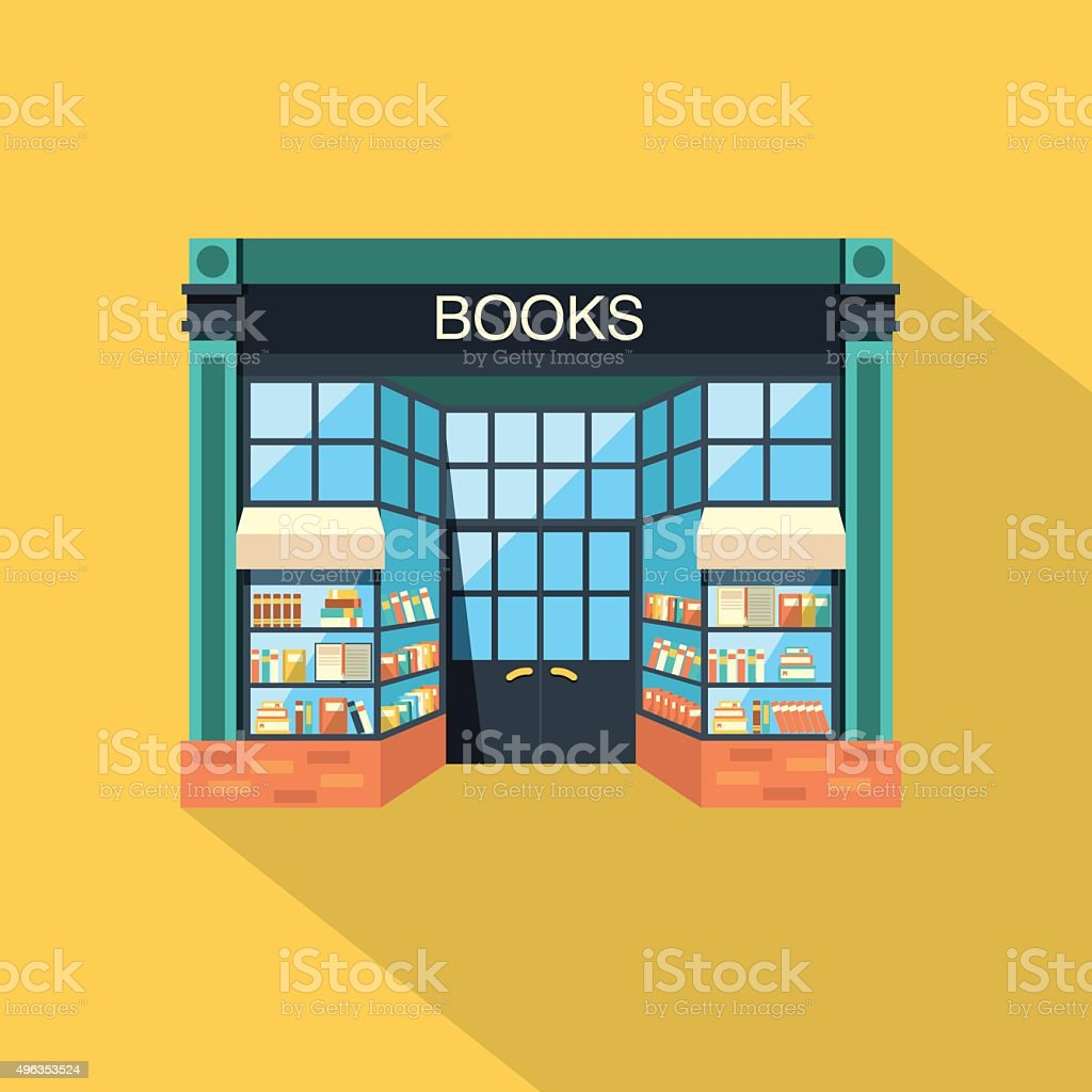 Bookstore. Store building in flat design style vector art illustration