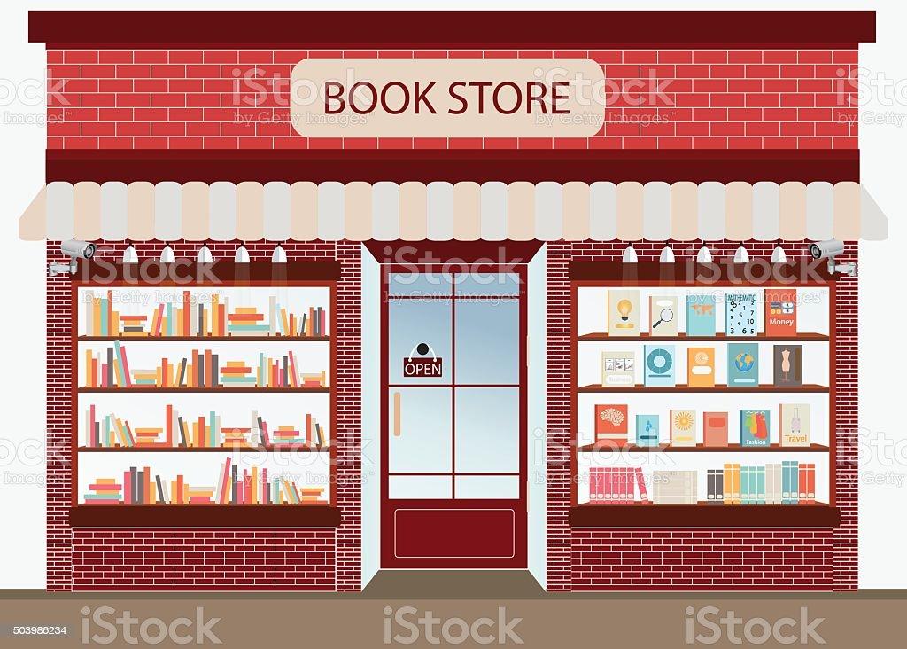Bookstore with bookshelves. vector art illustration