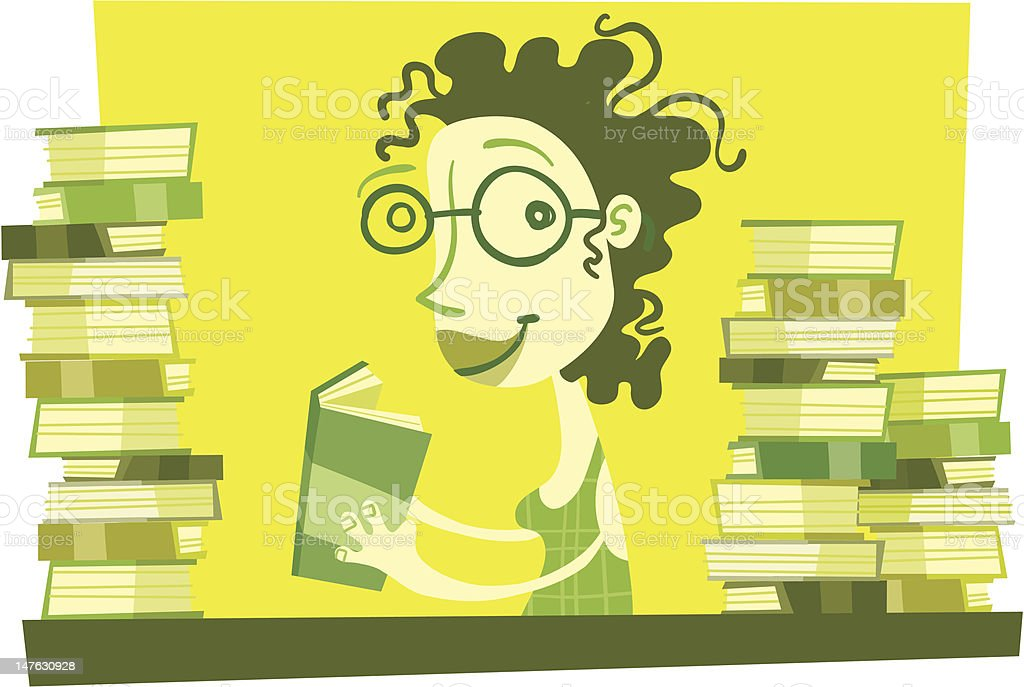Bookworm Betty royalty-free stock vector art