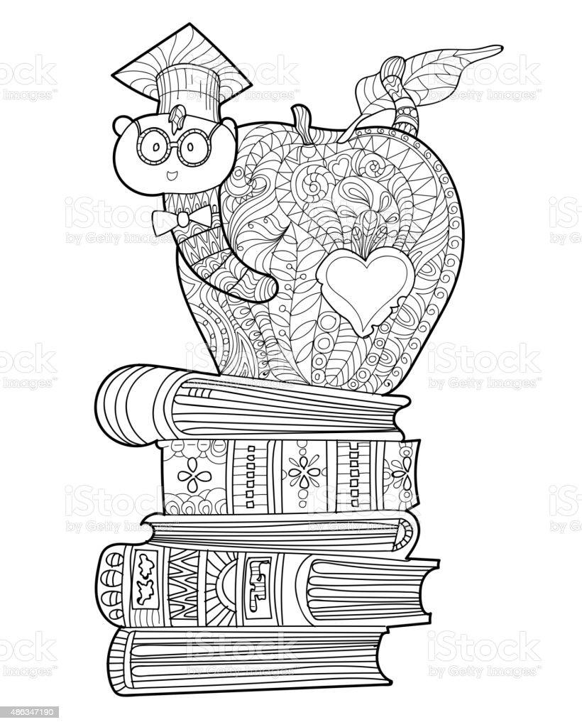 Bookworm doodle vector art illustration