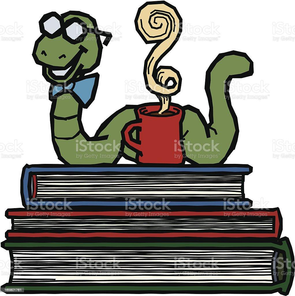 Bookworm vector art illustration