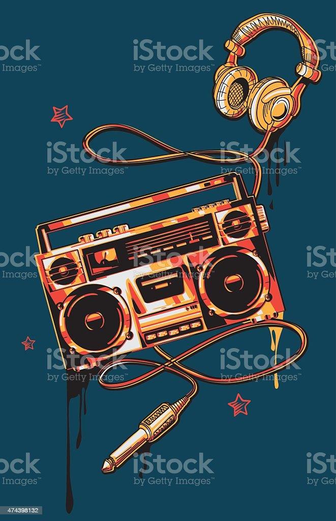Boom box & headphones in graffiti style vector art illustration