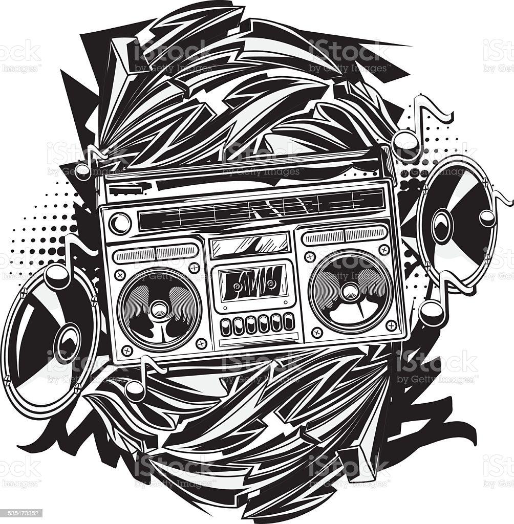 Boom box in graffiti style vector art illustration