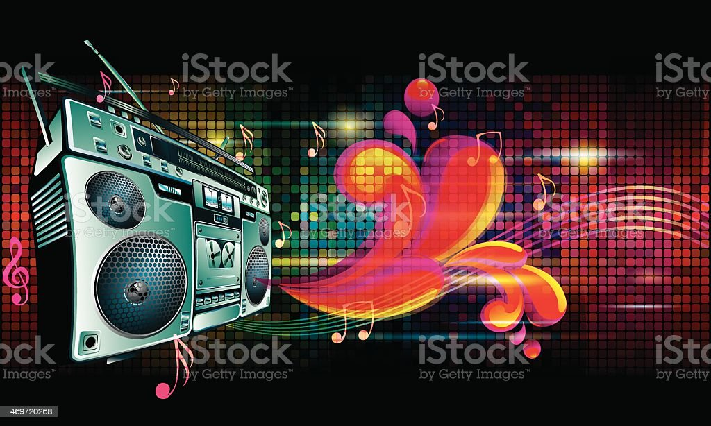 Boom box on bright colorful background vector art illustration