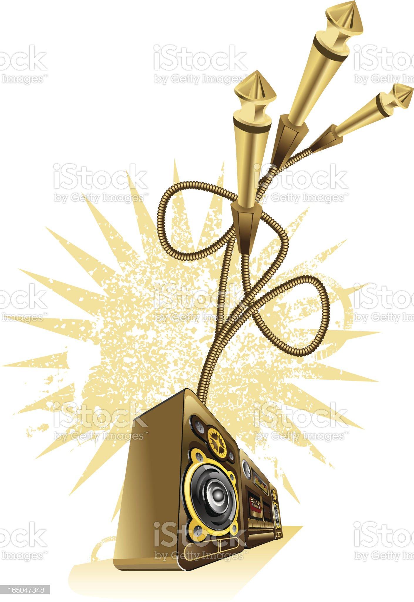 Boom box & plugs royalty-free stock vector art