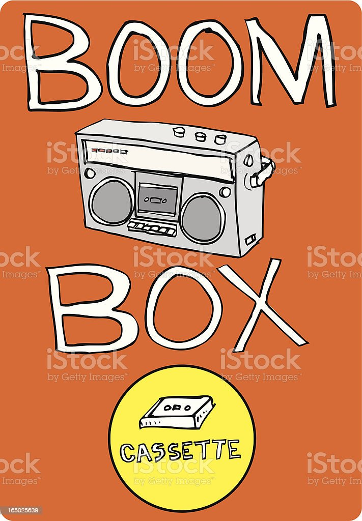Boom Box with Cassette (vector illustrations) royalty-free stock vector art