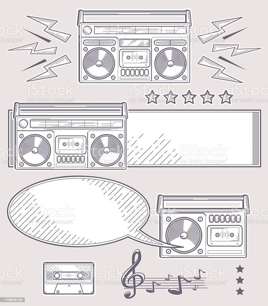 Boom boxes line art music design vector art illustration