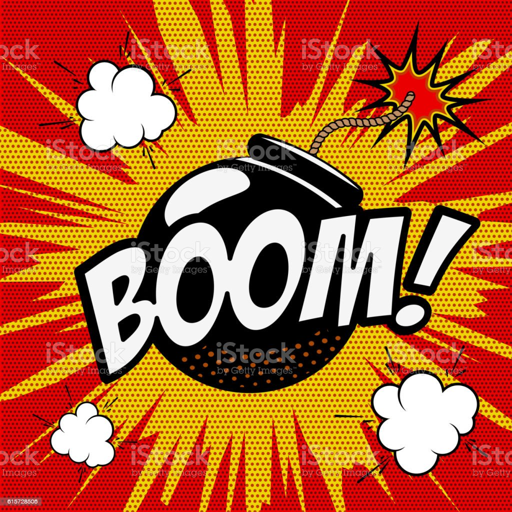 Boom! Comic style phrase on colorful background. Cartoon bomb vector art illustration
