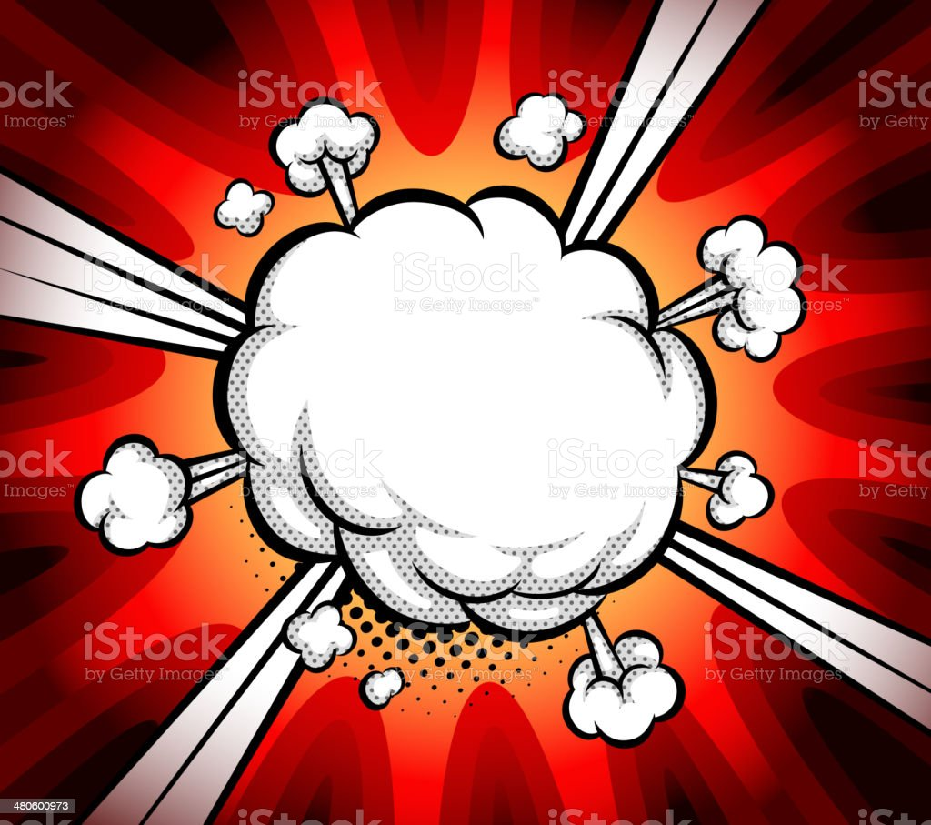 boom exploding bubble vector art illustration